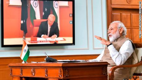 Indian Prime Minister Narendra Modi speaks at a virtual meeting with Australian Prime Minister Scott Morrison, in New Delhi, India on Thursday, June 4, 2020.