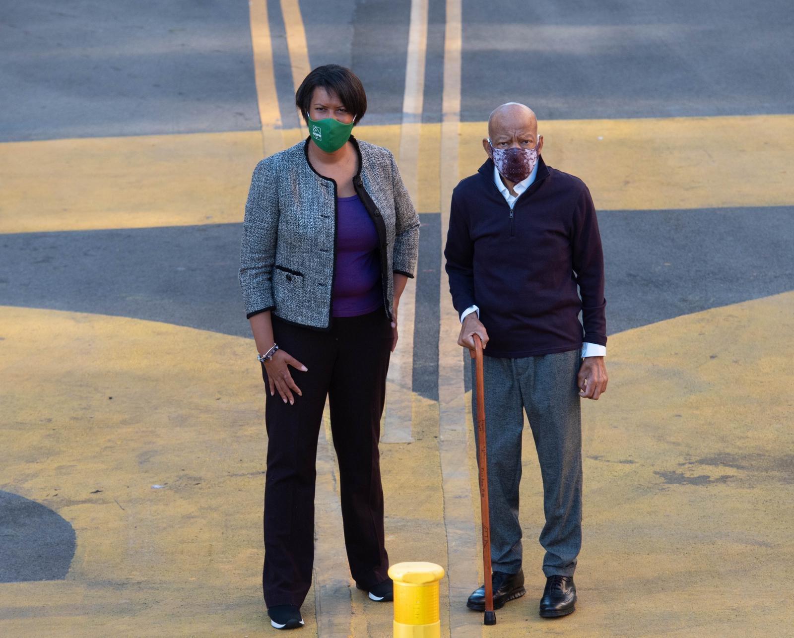 Photo of Representative John Lewis visited Black Lives Matter Plaza with mayor of Washington, DC