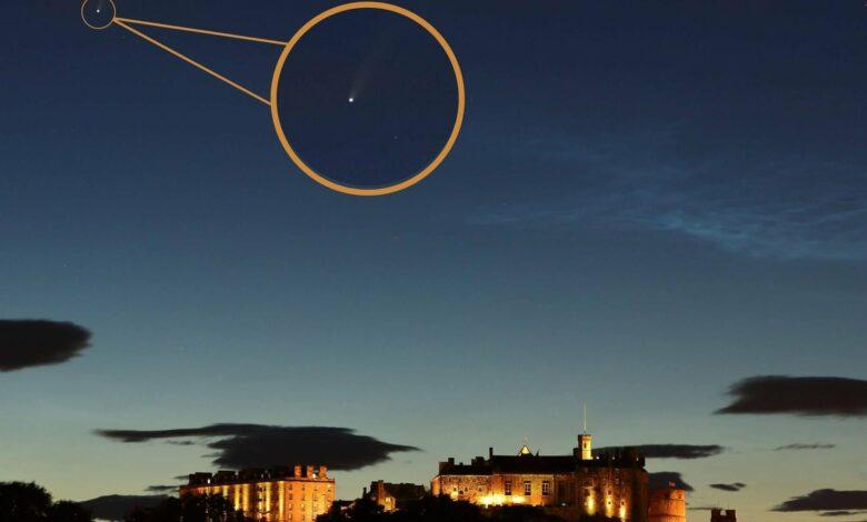 Astonishing photos show Neowise comet flying over Edinburgh Castle