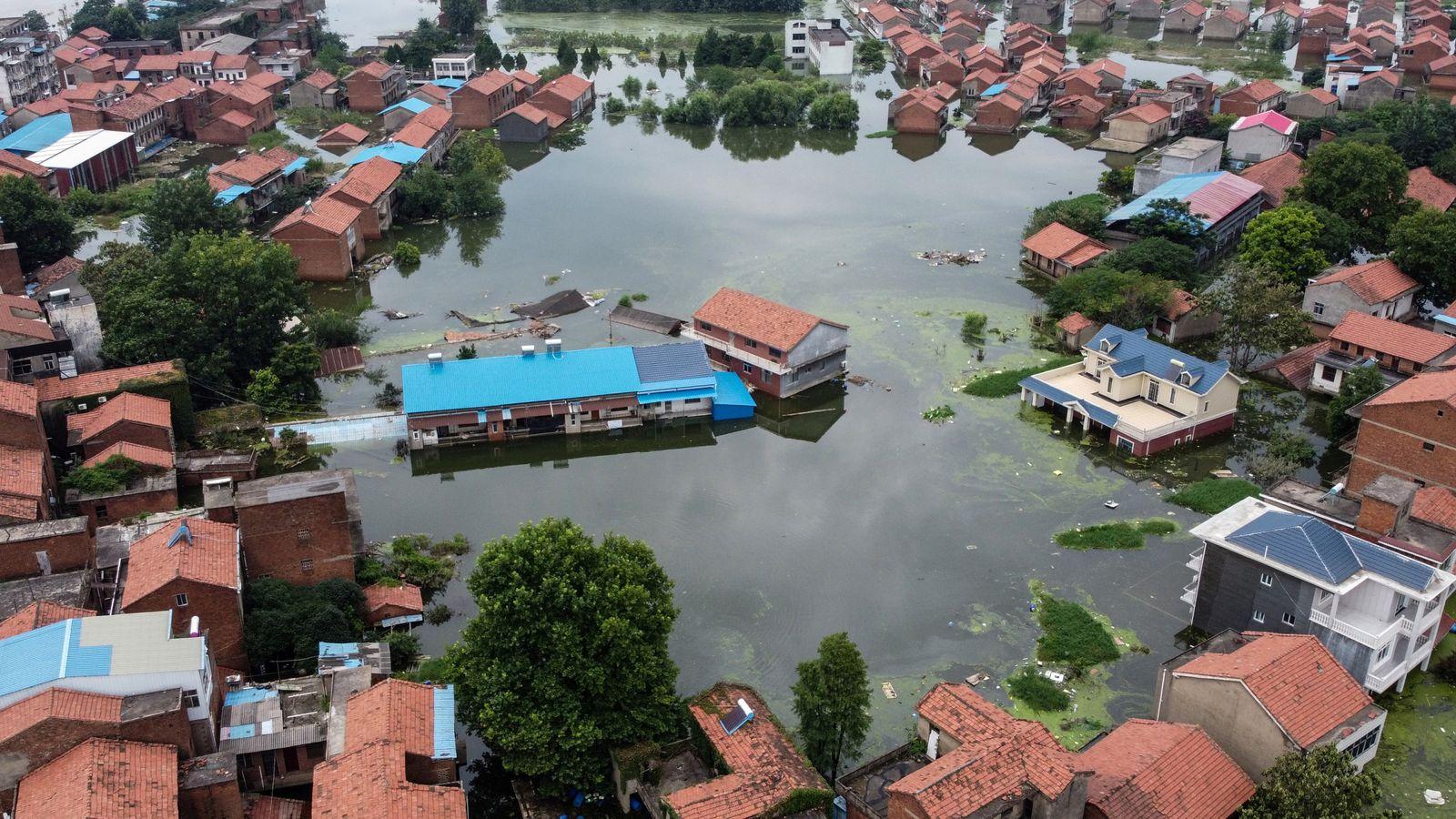 Rising water levels of the Yangtze river in Jiujiang, in China's central Jiangxi province