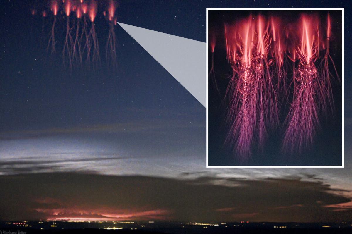 Stunning Nasa image of 'rare lightning phenomenon' looks like giant red ALIENS in the sky