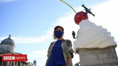 Photo of Trafalgar Square Fourth Plinth swirl of cream sculpture unveiled
