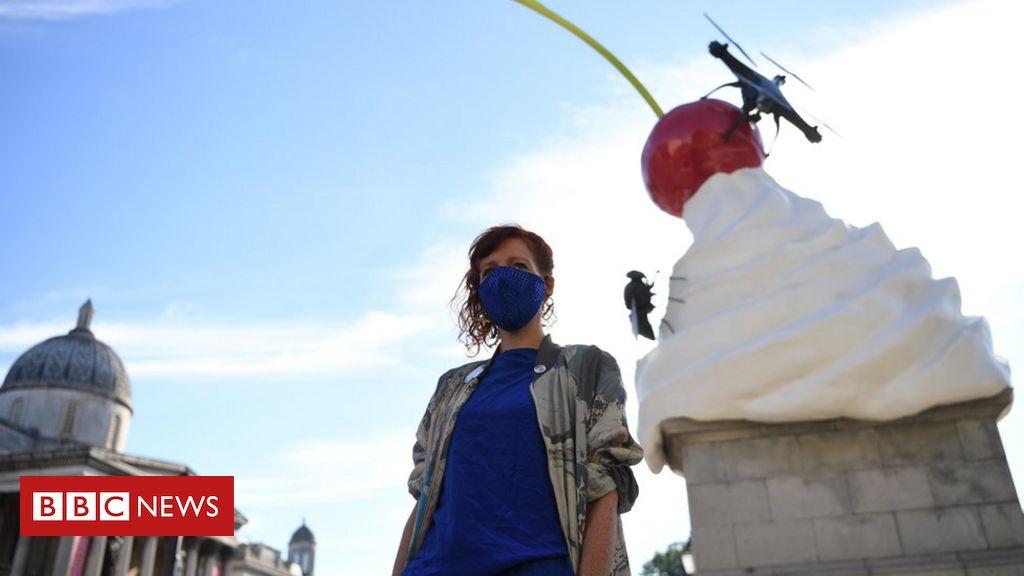 Trafalgar Square Fourth Plinth swirl of cream sculpture unveiled