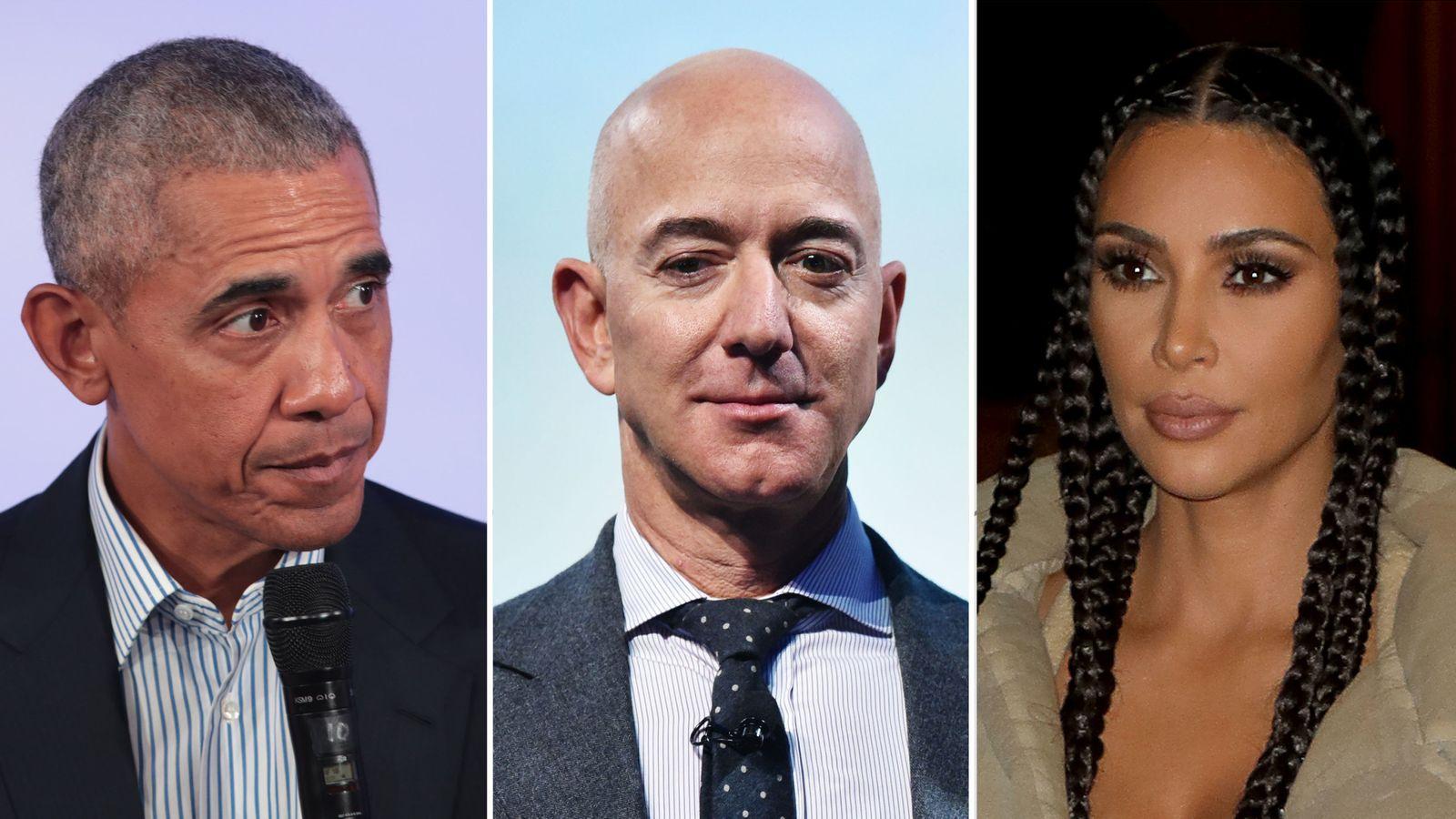 (L-R) Barack Obama, Jeff Bezos, Kim Kardashian