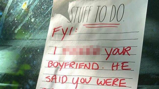 Stranger leaves brutal note on neighbour's car instructing them to dump their boyfriend