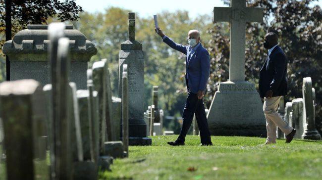 Joe Biden visits family grave in Wilmington, Delaware