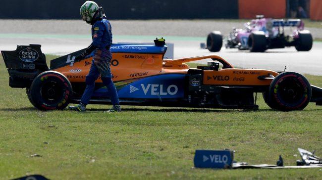 Tuscan GP, Exercise Two: Forward Voltaire Botas, Lando Norris Crash